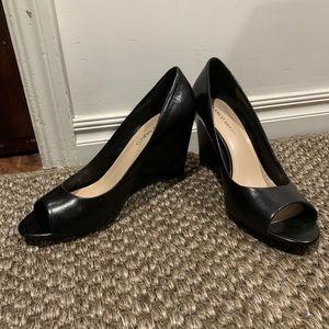 Franco Sarto Black Peep Toe wedge. Size 13.